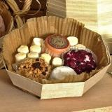 Octagonal wooden container with mini cheeses